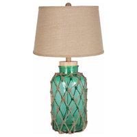 Amalfi 1-Light Table Lamp, Mint, Natural Shade