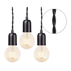 Black Braided Cable Kit, Set of 3, Gold Tinted 4 Watt Led Filament Globe Bulb