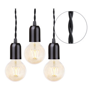 Black Braided Cable Kit, Set of 3, Gold Tinted 4 Watt Led Filament Globe Bulb