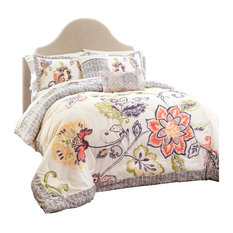 Aster Quilted Comforter Coral/Navy 5Pc Set King