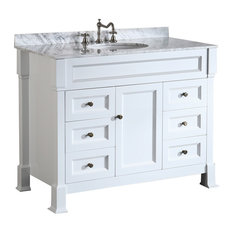 43'' Bosconi Single Vanity Set White, Carrara Marble, Undermount Sink