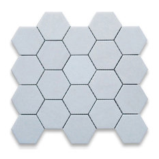 "12.25""x11.75"" Thassos White Hexagon Mosaic Tile Polished, Chip Size 3"""