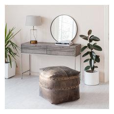 Fenton Genunie Leather Pouf With Frills, Brown
