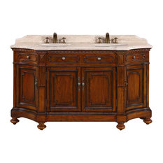 "68"" Double Sink Bathroom Vanity With Travertine Top"