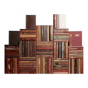 Decorative Books, Modern Brown Book Wall, Set of 100