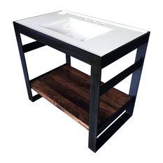 """Steel Bath Vanity With Reclaimed Oak Shelving, Blackened, 48""""x22"""", Single Shelf"""