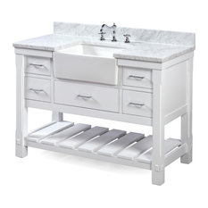 "Charlotte Bathroom Vanity, Base: White, 48"", Top: Carrara Marble, Single Sink"