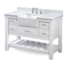 """Charlotte Bathroom Vanity, White, 48"""", Carrara Marble Top, Single Sink"""
