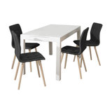 Angala Dining Table And Fridi Chairs, Dark Grey Fabric, 4 Chairs
