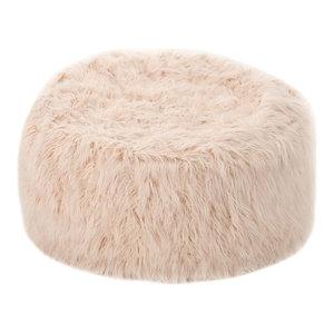 GDF Studio Lycus Faux Fur Bean Bag Chair, Pastel Pink