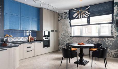 Проект недели: Кухня с голубыми фасадами и видом на парк из окна