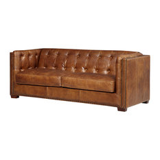 Crafters And Weavers   Top Grain Vintage Leather Tuxedo Sofa, Light Brown    Sofas