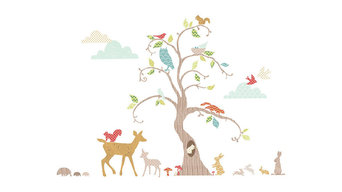 Woodland Tree Wall Decal Nursery Decor Kit,