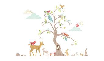 Woodland Tree Wall Decal Nursery Decor Kit,