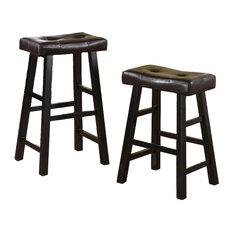Adarn Inc Faux Leather Saddle Seat Stools Set of 2 Black