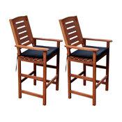 CorLiving Miramar Cinnamon Brown Hardwood Outdoor Bar Height Chairs, Set of 2