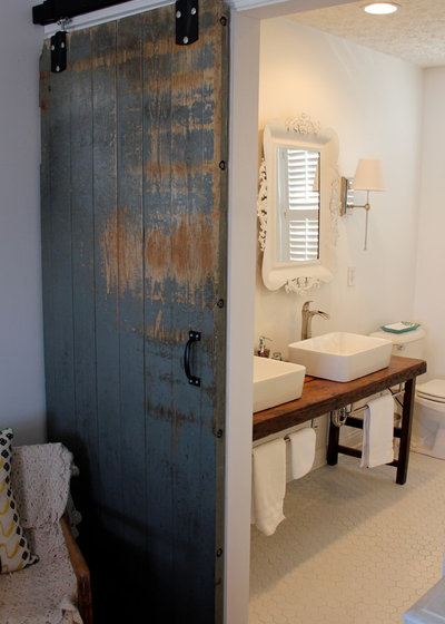 Brown found a barn door at The Columbus Architectural Salvage Yard  It had been salvaged from an old dairy farm in Mansfield  Ohio  from a building that was. Reinvent It  Salvage Savvy Keeps an Urban Farmhouse Bath on Budget