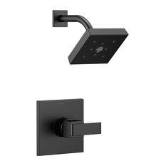Delta Ara Matte Black Showerhead and Single Handle Control With Valve D2439V