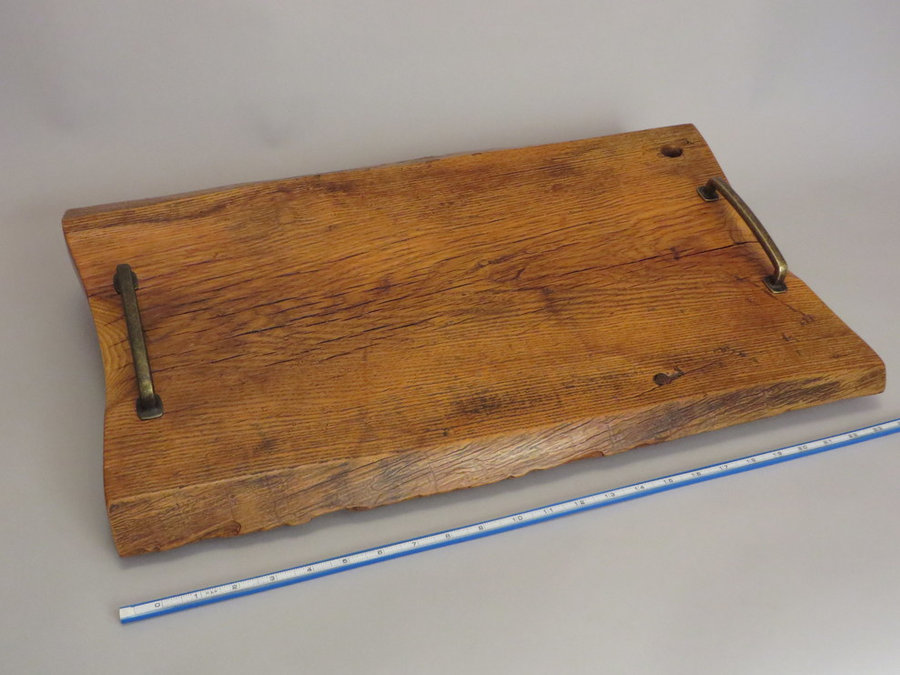 Tray 17018: Elm, Footed, Pull Handles, Rustic Surface.