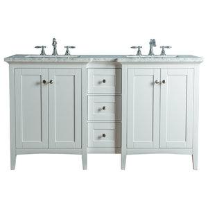 """Tower Modern 60"""" White Double Sink Bathroom Vanity"""
