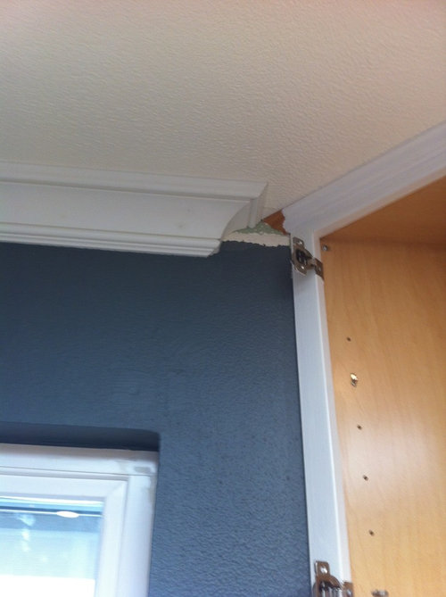 Help Need Advice For Crown Molding Not Butting Up To Kitchen Cabinets