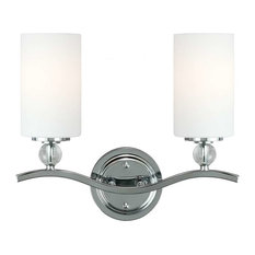 Englehorn 2-Light Wall/Bath, Chrome With Etched Glass Painted White Inside