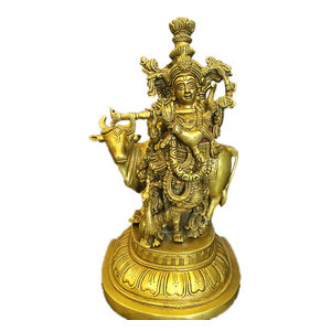 Mogul Interior - Lord Krishna with Cow Handmade Brass Statue Idol From India, Meditation Decor - Decorative Objects And Figurines