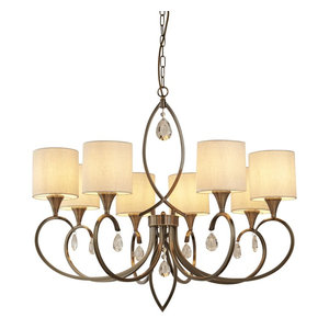 Alberto 8-Light Pendant, Antique Brass, Linen Shades