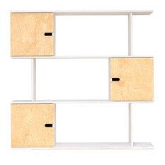 PIX Modular Shelving Unit, White and Oak, 3 Cupboards