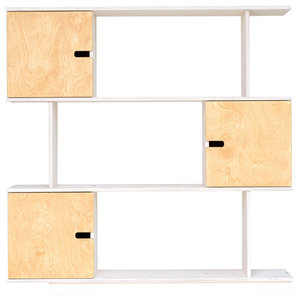 PIX Modular Shelving Unit, White and Oak, 3 Cupboards