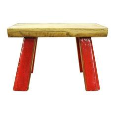 Raw Wood Top Finish Red Legs Rectangular Short Stool Table Hcs5615