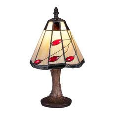 "Mini Table Lamp In Dark Granite, 6.75"" Autumn Leaves Tiffany Glass"