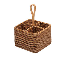 Rattan Bottle and Silver Caddy, Honey-Brown