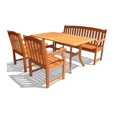 Vifah Atlantic 4-Piece Wood Patio Dining Set