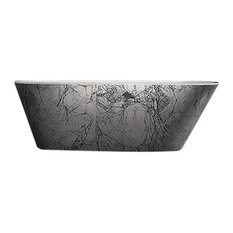 Victoria Modern Luxury Freestanding Black/Silver Bathtub