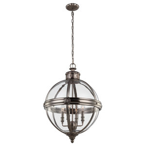 Adams Pendant Chandelier, Antique Nickel, 4 Lights