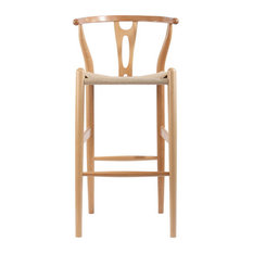 Wishbone Y Counter Stool Natural Beech With Natural Seat