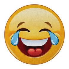 Crying-Laughing Emoji Round Beach Towel