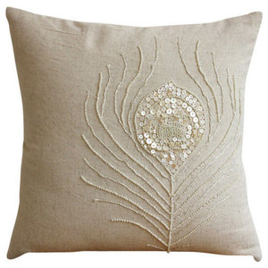 Pearly Peacock Feather, Beige Cotton Linen 65x65 Euro Pillowcases