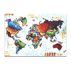 Rainbow Map 'A World of Diversity', Modern Map Art on Acrylic