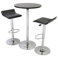 3-Piece Modern Dining Set With Bistro Table and Two Stools