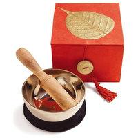Tibetan Meditation Bowl and Box: 3''Gold Bodhi