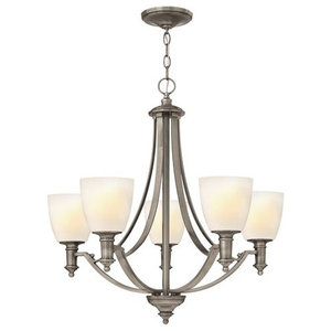 Modern 5-Arm Chandelier, Etched Opal Glass Shades