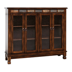 Santa Fe 4-Door Bookcase With Slate, Dark Chocolate