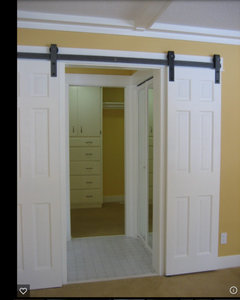 Attractive You Might Be Able To Get Split Barn Doors Which Are 1/2 The Width Of The  Doorway, One Slides Right The Other Slides Left. Not Sure About The Price,  ...