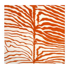 Alliyah Rugs, Inc. - Eden Zebra Rug, Off-White and Orange, 6'x6' - Area Rugs