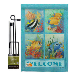 Tropical Fish And Coral Coastal Monogram T Double Sided 12 X 18 Inch Gardenflag Beach Style Flags And Flagpoles By Flagsrus