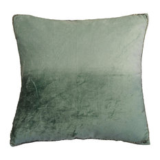 "AM Home Ombre Velvet Pillow With Beads Edge, Seafoam, 20""x20"""