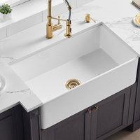 "Ratel 33"" True FireClay kitchen FarmSink Apron Single White NOT Porcelain Sink"