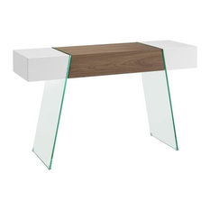 IL Vetro Cabana High Gloss White/Walnut Veneer Console Table